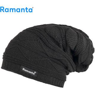 Ramanta Unisex Woollen and Fur Inside Beanie Winter Bob Marley Cap (Black, Free Size)