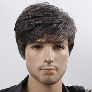 Maahal Men Synthetic Hairs Wig Medium size(Natural Black)
