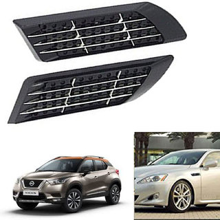 Ramanta Car Decorative Euro Duct Racing Side Vent Air Flow Fender Mesh for Nissan, (Black, Chrome - 2 Pcs)