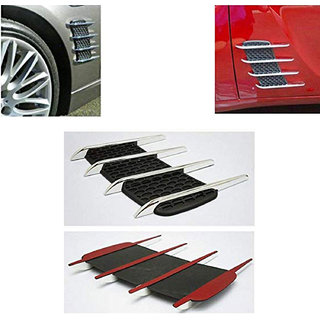 Ramanta Stylish Car Air Flow Side Vent Exterior Grille Decorative Duct for Car, (Set of 2pcs, Black with Chrome)