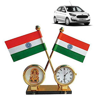 Ramanta Indian Flag with Watch & God Idol for Car Dashboard, Gifts, Home, Office, Desk Etc.. (Pack of 1, Assorted God Idols)