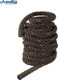 AZUKA Ultimate Fitness Strength Training Battle Rope 1.5 inch 50 ft Limited Edition (BLACK  YELLOW )