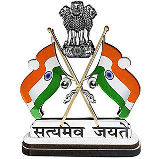 Ramanta Satyamev Jayate Indian Cross Flag with Dual Print On Acrylic Base with Attached Glass for Car Dashboard, Gifts, Home, Office, Desk Etc.. (Pack of 1, Assorted God Idols)