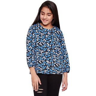 Oxolloxo Girl's Polyester Long Sleeve Floral Top (Black_11-12 Years)