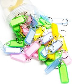 Name Tag Key Chain Pack of 50 Key Chain Locking Key Chain (Multicolor)