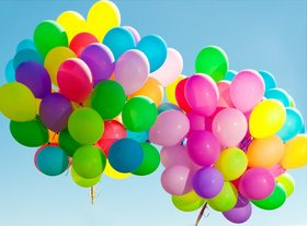 Solid Multicolor Balloons for Part Decorations- 50 Pieces