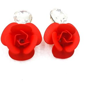 22 K Gold Plated Austrian Crystal Fancy Red Rose Flower Earring for Girls and Women