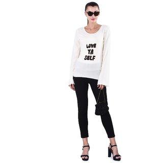 Selfys  Women Cotton Slogan Printed Round Neck Top(X-Small)
