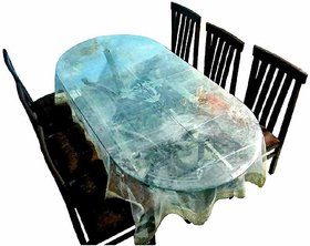 CASA-NEST Classic Transparent 6 Seater Oval Dining Table Cover with Golden Lace (Oval)