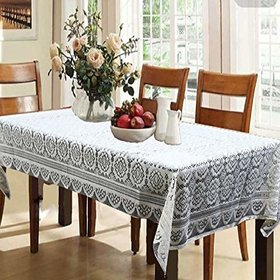 CASA-NEST Dining Table Cover Cream Cloth Net for 6 Seater 60  90 Inches (Self Design)