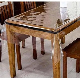 CASANEST Transparent Waterproof Clear Table Cover 4 Seater -Without Border OR LACE-40X60 inches(Imported Quality)