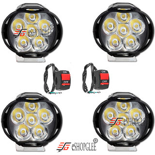 Eshopglee Fog Light 6 Led 4 Pcs Free 2 On/Off Switch