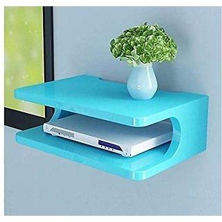 Onlineshoppee Mdf Beautiful Design Set Top Box Wall Shelf (25.5 Cm X 19 Cm X 11.5 Cm,Blue
