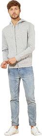 Kristof grey full zipper sweatshirt with hood made of 100 cotton for men