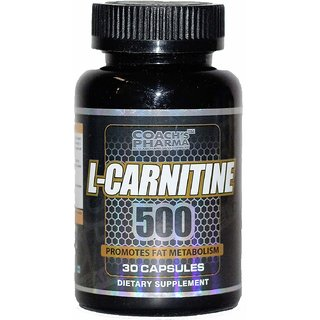 Coach's Pharma L- Carnitine L- Tartrate 500mg (Double Strength Formula) Amino acid for Muscle, Brain  Heart -30 tablets
