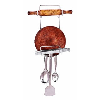 Teneza Rolling Pin Holder Chakla Belan Stand Stainless Steel included hardware