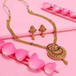 Sukkhi Ethnic Gold Plated Goddess Long Haram Necklace Set For Women