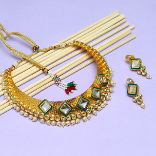 Sukkhi Elegant Kundan Gold Plated Pearl Choker Necklace Set For Women