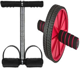 love4ride Evergreen Combo Ab Wheel Roller With Single Tummy Trimmer Fitness Workout Equipment