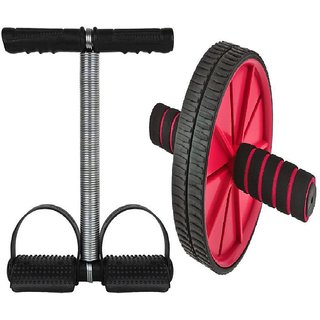 Yash HR Combo Ab Wheel Roller With Single Tummy Trimmer Fitness Workout Equipment