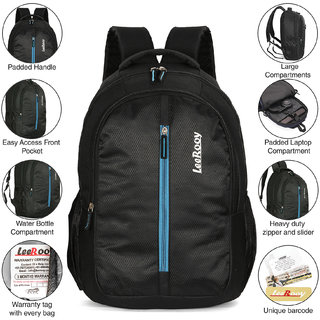 Leerooy Canvas 25Ltr Black Stylish School Bag