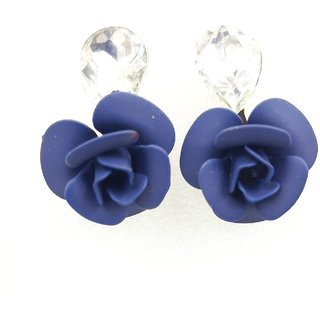 22 K Gold Plated Austrian Crystal Navy Blue Rose Flower Fancy Earrings For Girls And Women