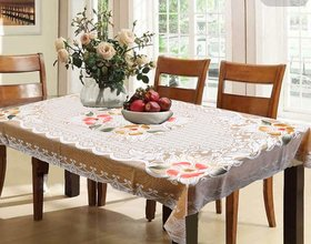 Casa-Nest Rectangular Dining Table Cover Cream Cloth Net For 6 Seater 60  90 Inches (Exclusive Floral Design)