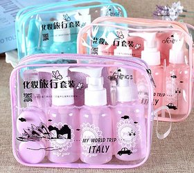 Regal Plastic Portable Travel Size Empty Bottles For Makeup Cosmetic Toiletries Liquid Containers With - Set Of 10