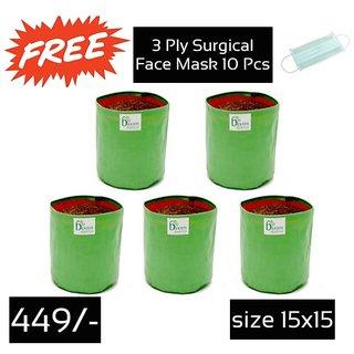 Hdpe Grow Bag 5 Nos Size 15 X 15 Inch   1.25 X 1.25 Feet  Terrace/Kitchen Garden
