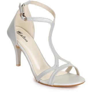 Picktoes Women Stylish Casualwear Ankle Strap Silver Stiletto Heel