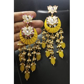 Shourya Exports Earring Yellow Meenakari Enamel Kundan Pearl White Lotus Chandbali Earrings Beads Handwork Indian Traditional Long Dangle Drop Designer Gold Tone Jewellery For Women And Girls