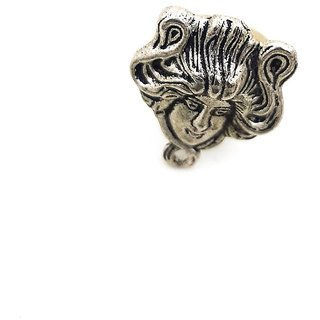 German Silver Antique Greek Mythology Medusa Stylish Fancy Adjustable/Free Size Finger Ring For Girls And Women