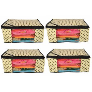 Tagve Non Woven Saree Cover Saree Cover Set Sari Packing Bag Storage Organiser (Dotted Ivory- Pack Of 4)