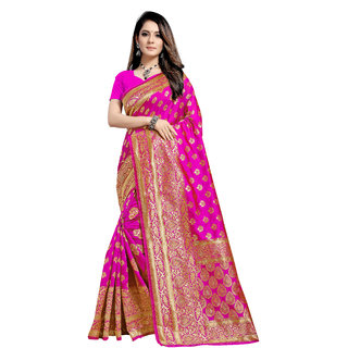 Aadyaa Creation Banarasi Cottan Silk Saree With Blouse (Pink)