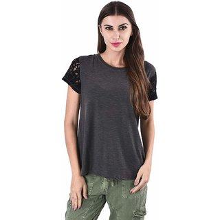 Selfys Women Cotton Solid Round Neck Top (Medium, Grey)