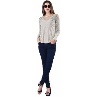 Selfys Cotton Printed Top For Women (Beige, X-Large)