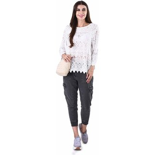 Selfys Polyster White Embroidery Top For Women(Medium)