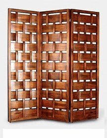 Shilpi Wooden Handcrafted Partition Net Look Covered Room Divider Separator Panel 3
