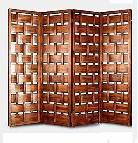Shilpi Wooden Handcrafted Partition Net Look Covered Room Divider Separator Panel 4