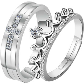 Silvershine Silverplated Exclusive His And Her Adjustable Proposal Couple Ring For Men And Women Jewellery