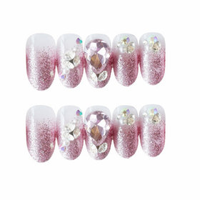 Pink Crystal Glittering Artificial Nails By Tinsley