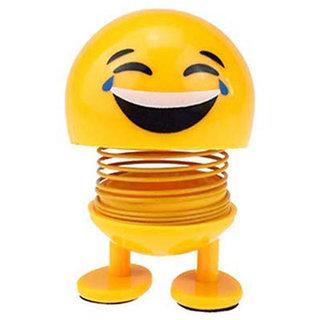 Eastern Club Smiley Spring Doll, Cute Emoji Bobble Head Dolls For Car Interior Dashboard (Pack Of 1)