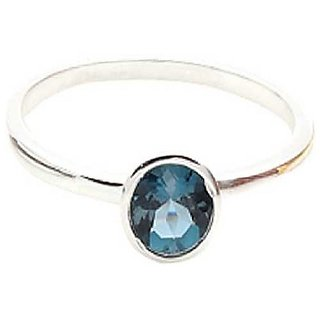 Ceylonmine- Blue Topaz 5.25 Ratti Stone Ring Original & Natural Topaz 92.5 Sterling Silver Ring Adjustable Ring For Unisex
