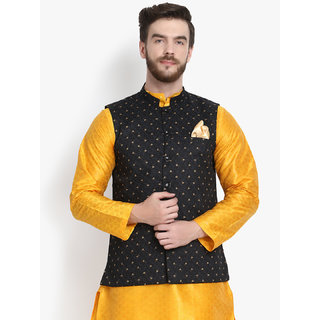 Klotthe Men Black Floral Nehru Jacket