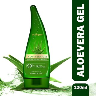 LA Organo Aloe Vera Gel 120Ml - 99 Pure Soothing Aloe Vera Gel For Face, Skin And Hair - Best Multipurpose Beauty Gel