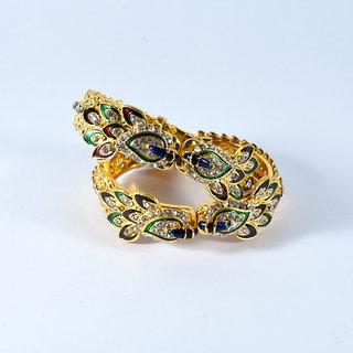 Royal Peacock Adjustable Gold Bangles Set Of 2