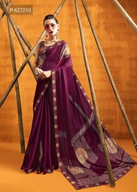 Saree Georgette Faux With Blouse Maroon Colour Party Wear Office Wear