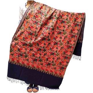 Varun Cloth House Womens Pashmina Warm Kashmiri Embroided Shawl (Vch7347, Navy, Free Size)