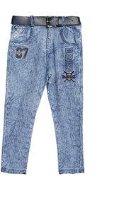 Tadpole Boy'S Blue Embroidred Mid-Rise Cotton Jeans