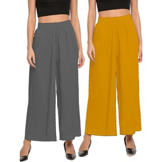 The Moon Impex Women'S Rayon Flared Palazzo (Grey & Mustard Yellow, Pack Of 2)